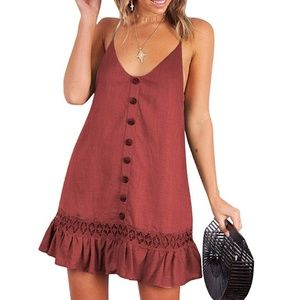 V-Neck Spaghetti Strap Button-Down Swing Dress